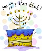 Illustration of a Cake with Hanukkah Greetings
