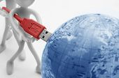 Plugging USB into earth. Global communication. Conceptual