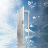 Door to new world. Open door in sky conceptual. Other original versions of this concept available in