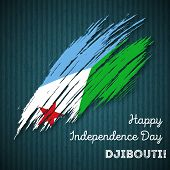 Постер, плакат: Djibouti Independence Day Patriotic Design Expressive Brush Stroke In National Flag Colors On Dark