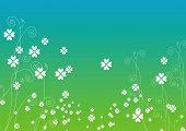 Verde, branco e fundo de folhagem em azul