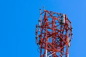 Mobile Phone Communication Antenna Tower With Satellite Dish On Blue Sky Background poster