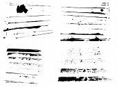 4 Sets von Grunge-Streifen