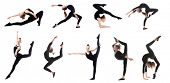 Collage of teenage girl doing gymnastics exercises on white background poster