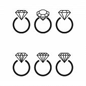 Diamond Engagement Ring Icons With Crystals. Vector Illustration. Black Circle With Shiny Brilliant poster