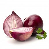 Red sliced onion and fresh parsley still life isolated on white background
