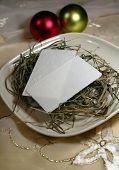 Christmas Eve wafer and hay on a christmas table
