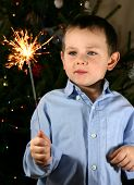 Child watching a cool firework, sparklers.