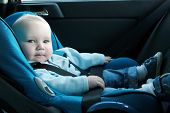 stock photo of seatbelt  - 7 months old baby boy in a safety car seat - JPG