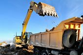 image of rear-end  - Loader Excavator loading body of a dump truck tipper at open cast over blue sky in winter - JPG