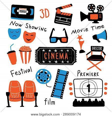 Cinema Symbols Set With Ink