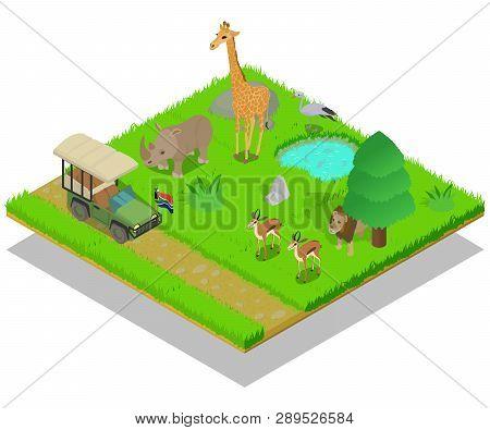 Safari Concept Banner Isometric Banner