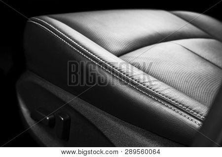 poster of Modern Luxury Car Inside. Interior Of Prestige Modern Car. Comfortable Leather Seats. Perforated Lea