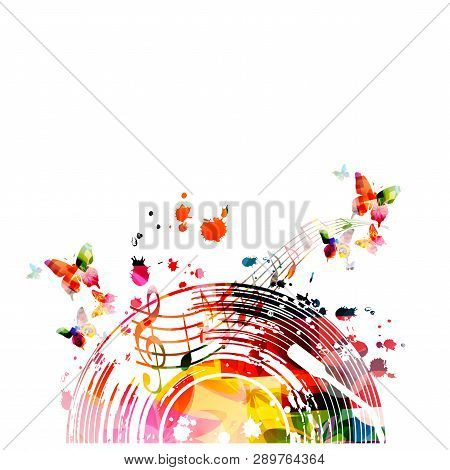 poster of Music Background With Colorful Vinyl Record And Music Notes Vector Illustration Design. Artistic Mus