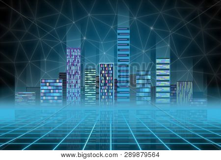 Urban background futuristic hitech city