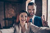 Close Up Photo She Her Pretty Business Lady He Him His Handsome Guy Laugh Laughter Hands Arms Hold S poster
