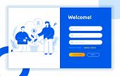 Login Ui Ux Design Concept And Illustration With Big Modern People, Privacy Icons, Inputs, Forms. Ve poster