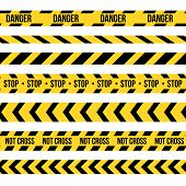 Creative Vector Illustration Of Black And Yellow Police Stripe Border. Set Of Danger Caution Seamles poster