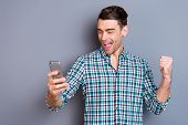 Close Up Photo Attractive Amazing He Him His Man Arms Hands New Telephone Smart Phone Excited With M poster