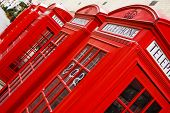 stock photo of phone-booth  - Five red phone boxes - JPG