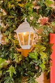 Ivy Wrapped Window Opening Of House. Wildlife Plants Home Window Climb. Retro Lantern In An Arch Of  poster