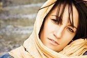 Young woman wearing muslim veil