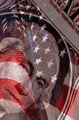 Symbols of American Patriotism - George Washington and US flag.