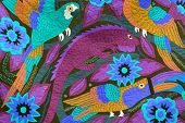 Rain-forest tapestry - vibrant iguana, Parrotts. Change hue for amazing results.