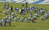 San Diego Chargers Stretching during pre-game warmups at Qualcomm Stadium on October 14th, 2007