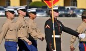 Graduates of the United States Marine Corps marching during a ceremony at MCRD, San Diego on January