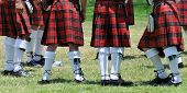 Vista, California - Scottish Highland Games on June 28th, 2008. Kilted bagpipe band members.
