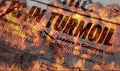 Turmoil and Meltdown on Wall Street - concept image with flames and headlines of turmoil in the stoc