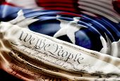 Ripples across America - red, white, and blues of a flag with Constitution.