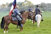 VISTA, CA - MARCH 7: Civil War re-enactors ride horses with the â??Confederateâ?? cavalry on March 7