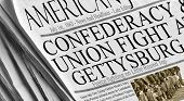 Union And Confederacy Battle in Gettysburg - July 1st, 1863. Newspaper re-creation of the famous bat