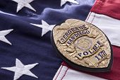 Police Sergeant's Badge and flag background