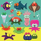 Funny sea animals set
