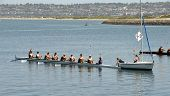 SAN DIEGO, CALIFORNIA - MARCH 27: Boats at the starting line at the 37th Annual San Diego Crew Class