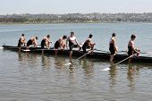 SAN DIEGO, CALIFORNIA - MARCH 27: Athletes in their boat at the 37th Annual San Diego Crew Classic R