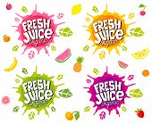 Fresh Juice Logo Emblem Bright Splash Shiny Stickers, Organic Emblems Banners Labels , Fruits Vegeta poster