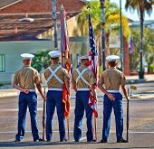 ESCONDIDO, CA - SEP 11:United States Marine Corps colorguard participate in the Grape Day Parade in memory of 9-11 (9/11/2001) on September 11, 2010 in Escondido, CA.