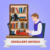 Typewriter Excellent Article Concept Background. Flat Illustration Of Typewriter Excellent Article C poster