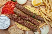Kebab, Traditional Turkish, Greek Meat Food On Pita Bread, Top View poster