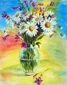 foto of flower vase  - Painted bouquet of wild flowers in a vase - JPG
