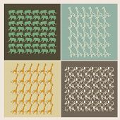 4 seamless background with giraffe and elephants