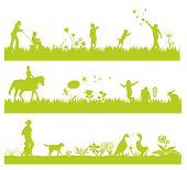 three green landscape banners with people, flowers, grass and animals