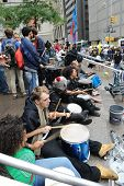 NEW YORK - OCTOBER 14: Unidentified protesters participate at an 'Occupy Wall Street' camp in Zuccot