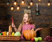 Child Little Girl Celebrate Harvesting. Kid Farmer With Harvest Wooden Background. Family Farm Festi poster