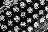 Antique Typewriter - An Antique Typewriter Showing Traditional Qwerty Keys I poster