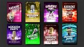 Karaoke Poster Set Vector. Music Night. Sing Song. Dance Event. Vintage Studio. Old Bar. Speaker Lab poster